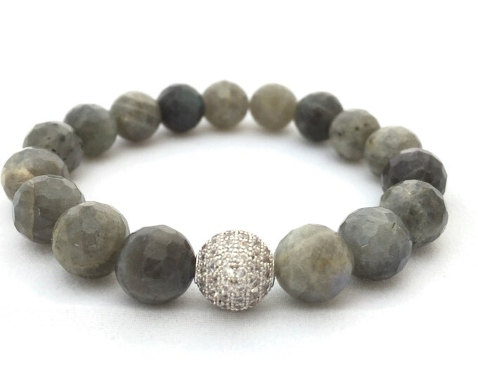Gray Labradorite Gemstone Bracelet- 10mm Faceted Labradorite- Stack Bracelet- Beaded Stone Bracelet- Girlfriend Gift- Powerful Gemstone