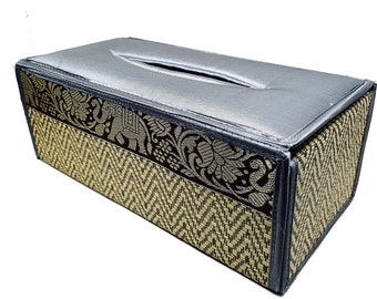 Handmade Thai Woven Straw Reed Rectangular Gray Tissue Box Cover with Silk