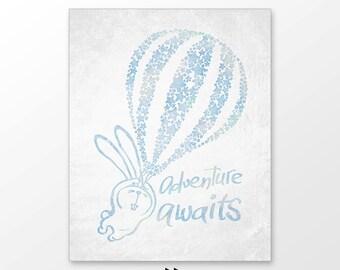 Hot air balloon nursery decor, adventure awaits printable , blue green, digital image z11 101 p102