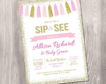 Pink and Gold sip and see invitation, Girl Baby Shower Invitation, sip and see invite, glitter, pink, gold, digital, Printable Invitation