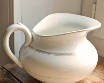 Antique begining of 20th century  French Ironstone creamware pitcher with gold line /St Amands water jag