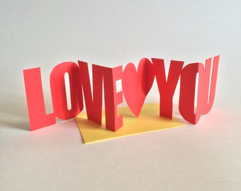 Handcut Concertina Card - Love You