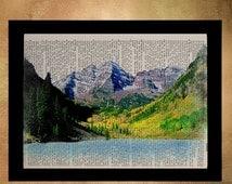 SALE - Ships Aug 27 - Colorado Maroon Bells Dictionary Art Print Aspen Travel Print Mountain Wall Art Home Decor Fine Art da803