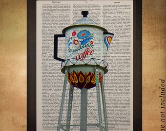 Coffee Cup Water Tower Dictionary Art Print Coffee Decor Poster Kitchen Art Home Decor Gift Ideas da1098