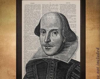 William Shakespeare Portrait Dictionary Art Print Writer Shakespeare Decor Wall Art Poster Home Decor da1114