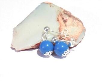 Lapis pearl earrings, Swarovski element pearl earrings, lapis earrings, blue earrings, pearl earrings, bridal earrings, bridesmaid earrings