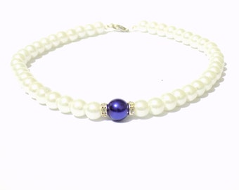 White and blue pearl necklace, white pearl necklace, blue pearl necklace, beaded necklace, bridesmaid necklace, bridal necklace