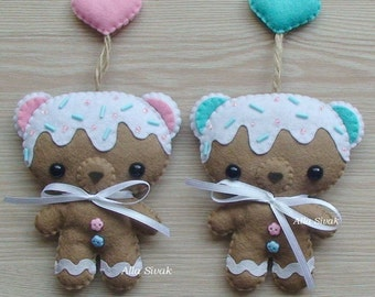 Gingerbread Cookie Bear, Toy Mascots, Gifts newlyweds, Cute Baby Teddy Bear Plush, Pink and blue, Personalize your car, Christmas ornaments