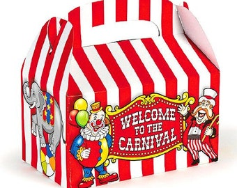 Set Of 12 Fun Colorful Big Top Circus Carnival Theme Treat Boxes - Party Favor Boxes - Goodie boxes - Includes 1 Dozen Popcorn Bags!