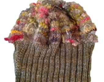 Handknit Multicolored Knit Wool Beanie Cap / Hat