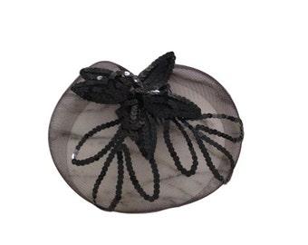 1940s Black Sequined Mesh Headpiece / Hairpiece / Pillbox Hat