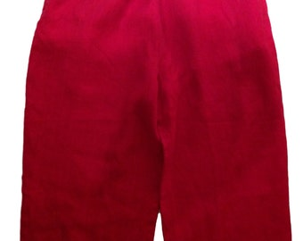 SALE: Red Linen Elasticated Waist Pant - Size Large - Made in USA