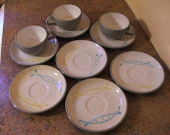 Set of Seven (7) 1950s Harkerware Stone China Ovenproof USA Seafare Saucers and 3 Cups