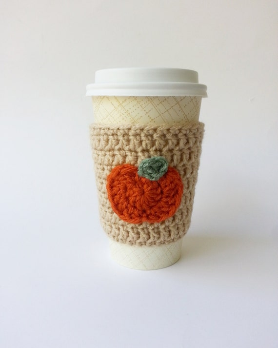 Crochet Coffee Cup Cozy Coffee Cozy With Pumpkin by NandysNook