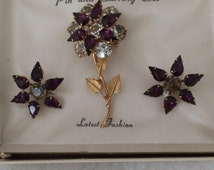 Juliana Jewelry Set D&E Vintage Amethyst Clear Rhinestones Flower Brooch Matching Star Design Earrings Rivet Backing Comes with Original Box