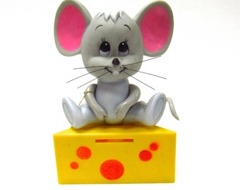 1970's Mouse and Cheese Cash Catcher Money Bank