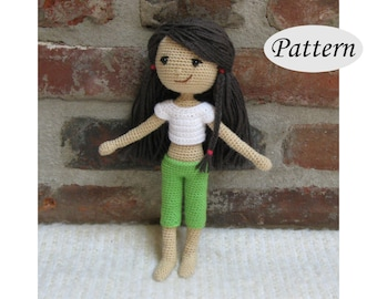 SUMMER GIRL - Amigurumi Pattern Crochet Doll Pattern - Photo Tutorial - PDF - Plush Doll Girl