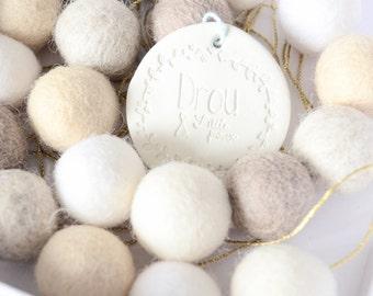 felt ball garland white