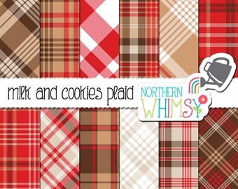 """Red, Tan and Brown Plaid Digital Paper - """"Milk and Cookies Plaid"""" - coordinates with the Milk and Cookies for Santa papers & clip art -CU OK"""