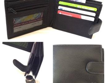 Men's Handmade Italian Leather Wallet in Black with Zip Coin Pocket