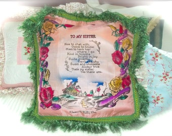 Vintage World War 2~Military Pillow Cover~Vintage Sister Poem~Vintage Military Decor~Vintage Pillow Cover~Vintage Pillow