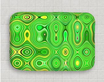 Funky Home Decor-Bold Green & Yellow Bath Mat-Microfiber Mat-Memory Foam-Kitchen Mat-Abstract Decor-Non Skid Floor Mat-Bathroom Floor Mat