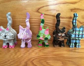 Wooden Cat Figurine - Various Patterns - Custom Made - Medium Detail