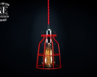 Industrial Red Cage pendant Light-, Antique Edison Bulb, Red Wire colour cord Cage Lamp, Rustic Lighting