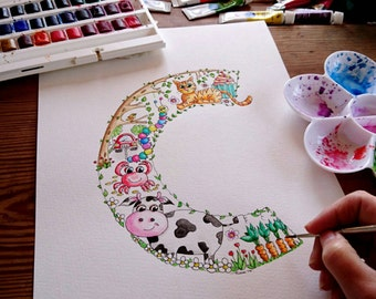 Original Watercolour Painting C is for.... Alphabet Letter Art C Illustration Nursery wall art Children's Name colourful