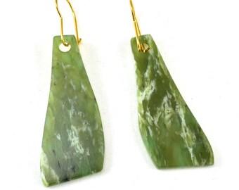 Handmade jade earrings, nephrite jade earrings, gold ear wires