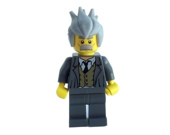 Albert Einstein Custom LEGO® Minifigure (Serious face) made with genuine LEGO® parts / Genius / Relativity / E=mc2 / Professor