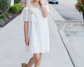 Girls Off-the-Shoulder Ruffle Cream Lace Dress, Girls Lace Dress, Girls Ivory Lace Dress - Sizes 4/5, 6/6X, 7/8, 10/12 - Ready to Ship