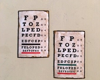 Miniature Dollhouse Vintage Inspired Eye Chart Signs - One of Each Color