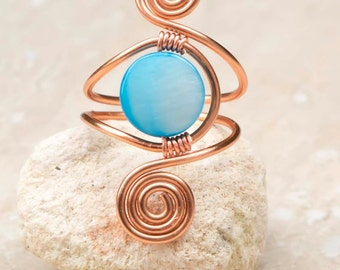 Spiral copper ring .Blue shell ring-adjustable,  spiral design ring ,adjustable copper ring