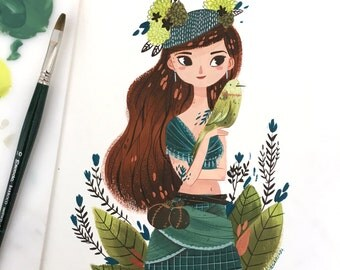 Ilustración Original Gouache - Bird