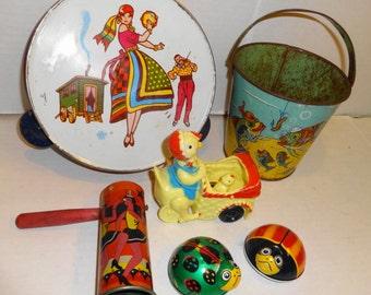 Vintage 1960s Tin Toys Lot+