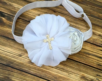 Baptism Headband,Christening Headband, White Baptism Headband,White Christening Headband,Cross Headband,White Headband with Cross, Headband