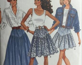Vintage 1988 Butterick 6371 Misses Flared Skirt Sewing Pattern 3 lengths Size Misses 6 thru 10