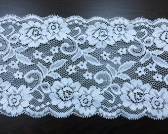 """White Lace Trim Bridal Lace 6"""" Wide 50 yards, 100 yards"""