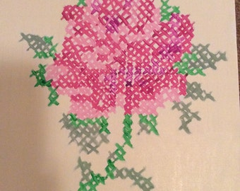 Painted Cross Stitch Rose