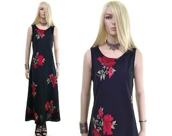 RED ROSE dress goth dress vintage 90s dress floral dress 90s goth dress witch dress grunge dress tea dress black maxi dress women's clothing