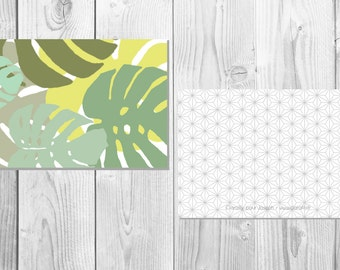 Tropical postcard - Monstera - Leaf Philodendron - Mint and Olive