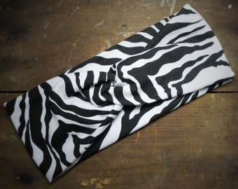 Zebra Print - Wide Headband - Cinch or Turban