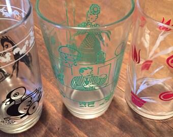 Three Vintage Juice Glasses 1950's