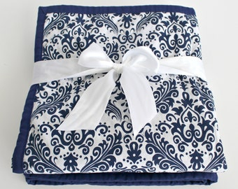 Damask Baby Blanket~ Quilted Baby Blanket~ Damask Baby Bedding~ Baby Girl Blanket~ Baby Quilt Handmade