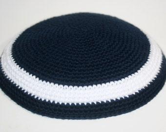 kippah navy blue and white