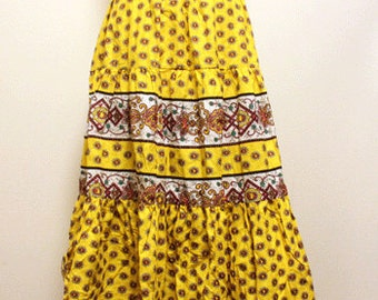 Deadstock 70's Vintage provence skirt -French provence cotton fabric - Size free