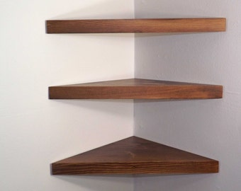 Set of 3 18 Inch Floating Corner Shelves with Dark Walnut Stain Handmade in the USA