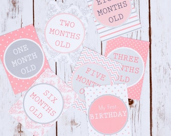 Baby Milestone Cards, Baby Photo Prop, New Baby Gift, Baby Shower, Pink & Grey