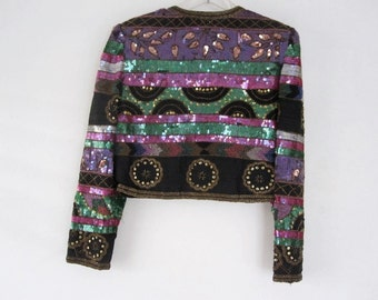 Vintage 70s LAURENCE KAZAR Intricate Sequined Beaded Trophy JACKET Glam India P/M